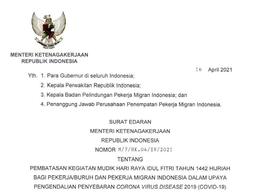 Pembatasan Mudik Bagi Pekerja dan PMI Tertuang dalam Surat Edaran yang Diterbitkan Menaker