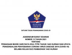 Satgas Terbitkan Adendum Surat Edaran No 13 Tahun 2021 Tentang Peniadaan Mudik