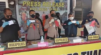 Polres Tual dan Bea Cukai Berhasil Gagalkan Penyelundupan Narkotika